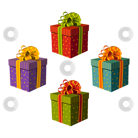 Colorful gift boxes with beautiful ribbons stock vector clipart, Colorful gift boxes decorated with golden stars and lines. White background. Vector available by Cienpies Design