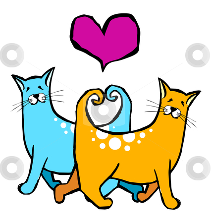 Couple of cats in love. Red heart above them on white background stock vector clipart, Cats with their tails forming a heart. Valantines card pet motifs by Cienpies Design