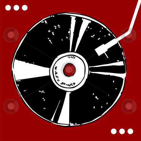 Vinyl disc on red background.  stock vector clipart, Vinyl disc on red background with white dots. Retro style. Vector available by Cienpies Design