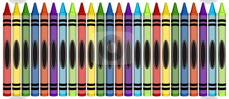 Group of Colorful Large Crayons stock vector clipart, Group of 24 colorful crayons isolated on white background by Cienpies Design