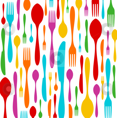 Cutlery colorful pattern on white stock vector clipart, Cutlery colorful silhouettes background. Spoon, knife and fork pattern over white. Vector available by Cienpies Design
