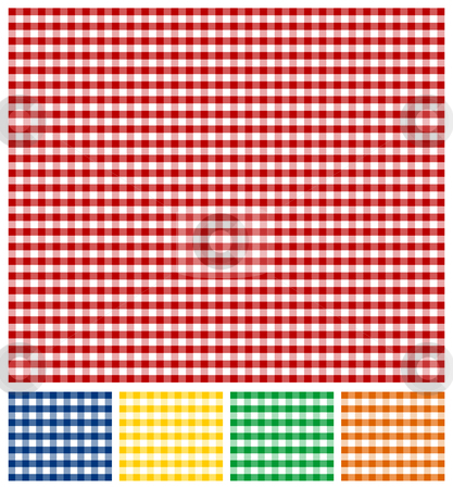 Picnic Tablecloth Texture stock vector clipart, Cross-weave Gingham Seamless Tiles: Red and white background. Same pattern in Yellow, Green, Blue and Orange, below. Vector available. by Cienpies Design