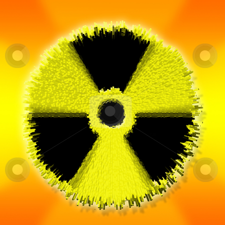 Nuclear warning explosion stock photo, Nuclear warning sign exploding. Symbol of atomic activity risk or danger by Tracy lorna Nors
