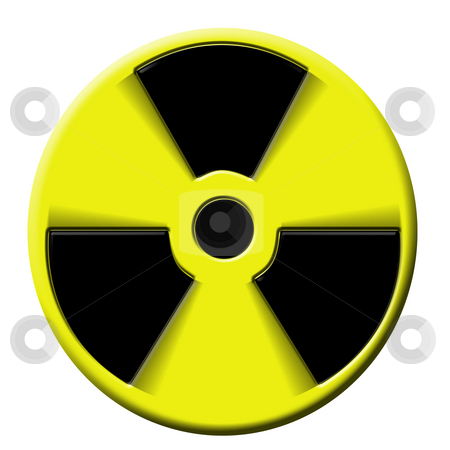 Nuclear warning explosion stock photo, Nuclear warning sign rotating. Symbol of atomic activity risk or danger by Tracy lorna Nors