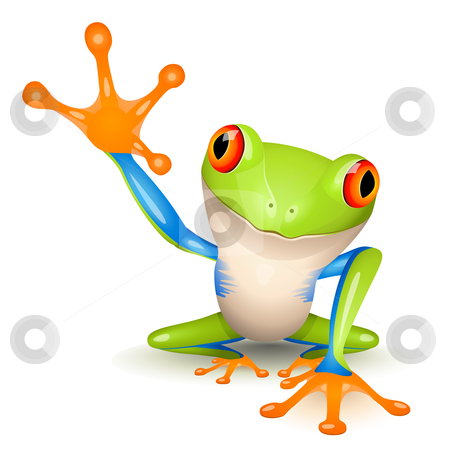 Little tree frog stock vector clipart, Little tree frog on white background by Laurent Renault