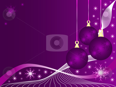 An abstract Christmas vector illustration with purple baubles  stock vector clipart, An abstract Christmas vector illustration with purple baubles on a lighter backdrop with snowflakes and room for text by Mike Price