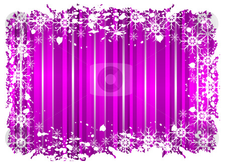 A grunge christmas frame with snowflakes on a mauve background  stock vector clipart, A grunge christmas frame with snowflakes on a mauve background with grunge border by Mike Price