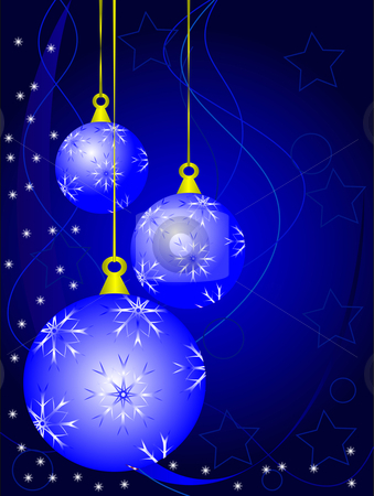 An abstract Christmas vector illustration with  sky blue baubles  stock vector clipart, An abstract Christmas vector illustration with  sky blue baubles on a darker backdrop with white snowflakes and room for text by Mike Price