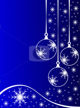 An abstract Christmas vector illustration with clear white outline baubles stock vector clipart, An abstract Christmas vector illustration with clear white outline baubles on a blue backdrop with white snowflakes and room for text by Mike Price