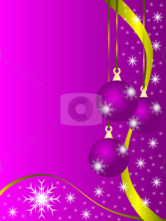 An abstract Christmas vector illustration with purple baubles  stock vector clipart, An abstract Christmas vector illustration with purple baubles on a lighter backdrop with white snowflakes and room for text by Mike Price