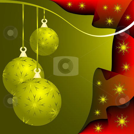 An abstract Christmas vector illustration with gold baubles  stock vector clipart, An abstract Christmas vector illustration with gold baubles on a darker backdrop with a red wave effect and gold snowflakes and room for text by Mike Price