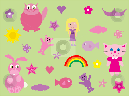 Collection of fun stuff for girls stock vector clipart, Vector illustration of a collection of fun and colourful stuff for girls by Rachel Gordon