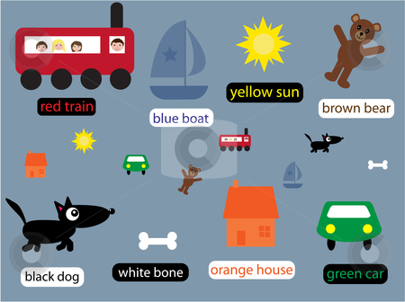 Collection of educational things for boys stock vector clipart, Vector illustration of a group of things for boys teaching about colour by Rachel Gordon