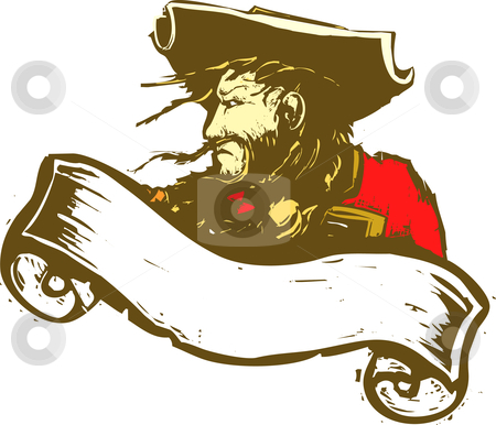 Pirate Banner stock vector clipart, Blackbeard the Pirate with scroll banner. by Jeffrey Thompson