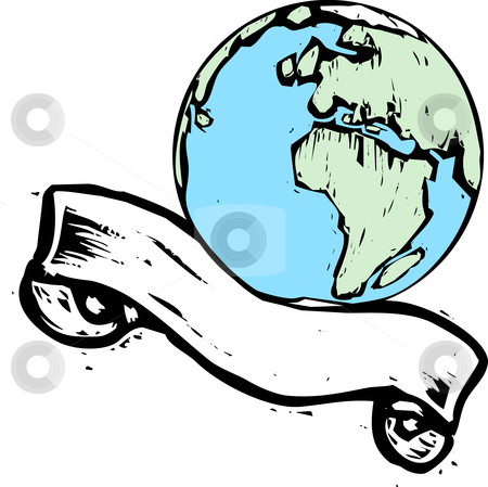 Earth Banner #2 stock vector clipart, Shot of Europe and Africa with scroll banner. by Jeffrey Thompson