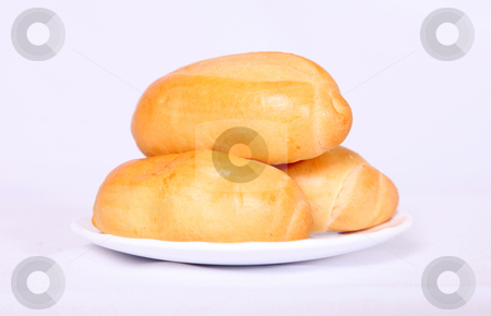 Bread stock photo, Three breads on dish over white background by Giuseppe Ramos