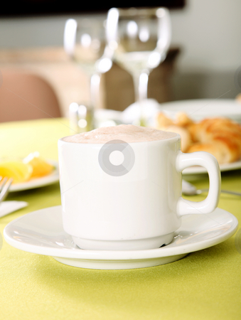 Cup stock photo, Chocolate cup on a restaurant. Breakfast Image by Giuseppe Ramos
