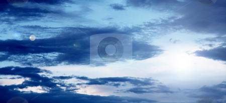 Sky stock photo, Panoramic of blue beauty sky. Nature image by Giuseppe Ramos