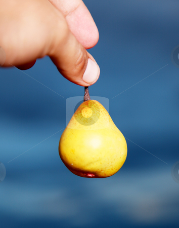 Fruit stock photo, Hand holding a pear over sky background by Giuseppe Ramos