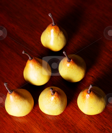 Pear stock photo, Six yellow pears triangle shape. fruit image by Giuseppe Ramos