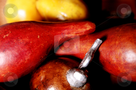 Ornaments stock photo, Artificial fruit ornaments. yellow and red colors by Giuseppe Ramos