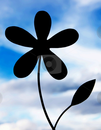 Flower silhouette stock photo, Silhouette of a flower with the sky background by Giuseppe Ramos