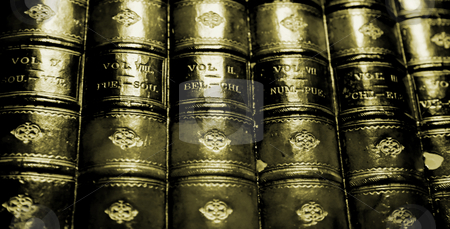 Old books stock photo, Old sepia group of books. retro image by Giuseppe Ramos