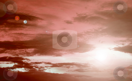 Red sky stock photo, Panoramic of red beauty sky. Sunset image by Giuseppe Ramos