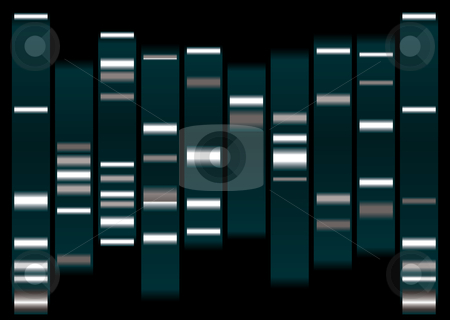 Dna white stock vector clipart, Dna medical illustration with indicator marks and black background by Michael Travers