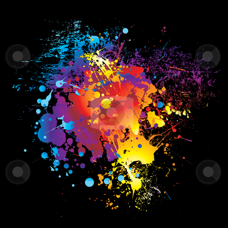 Sprite rainbow stock vector clipart, Illustrated Brightly colored rainbow ink splat black background by Michael Travers