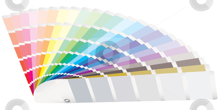 Color guide perspective stock vector clipart, Rainbow of color swatch tabs laying on a surface by Michael Travers