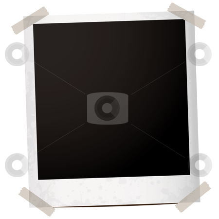 Single instant tape stock vector clipart, Single instant photograph with tape holding the corners down by Michael Travers