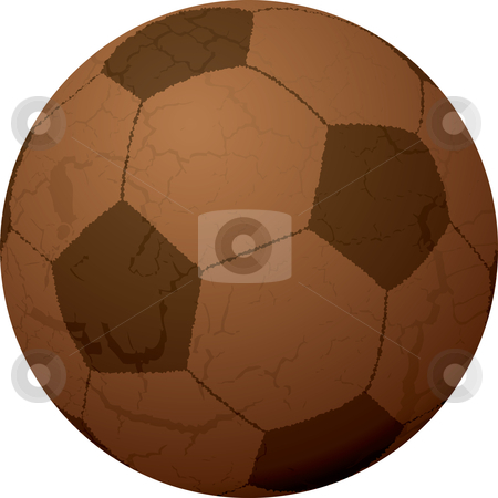 Football leather stock vector clipart, Old brown leather football with aged effect in brown by Michael Travers