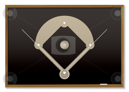Baseball blackboard stock vector clipart, Teaching black board with basic baseball field drawn by Michael Travers