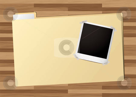 Business folder picture stock vector clipart, Business folder with instant photograph on a wooden desk by Michael Travers