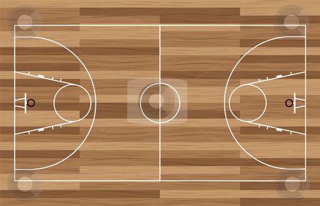 Wood basketball court stock vector clipart, Basketball court outline with wooden floor of gymnasium by Michael Travers