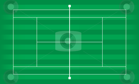 Tennis court grass stock vector clipart, Tennis court outside on green grass with stripes by Michael Travers