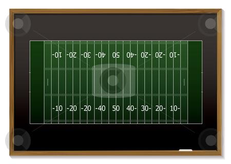 American football blackboard stock vector clipart, American football field with chalk markings on black board by Michael Travers