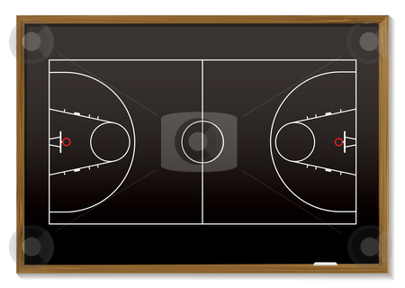 Basketball blackboard stock vector clipart, Black board with outline of basketball court ideal for strategy by Michael Travers