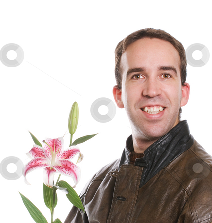 Man Holding Lily stock photo, A young man wearing a brown leather jacket and holding a lily flower, isolated against a white background by Richard Nelson