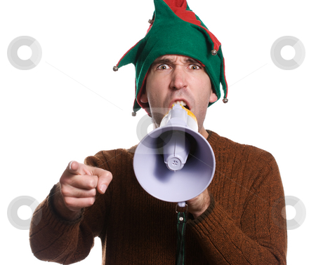Hollering Elf stock photo, An adult elf is hollering into a megaphone and pointing with his finger by Richard Nelson