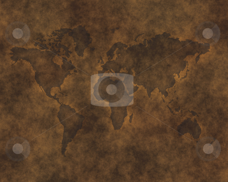 Leather map stock photo, Map of the world carved into brown raw hide leather by Phil Morley
