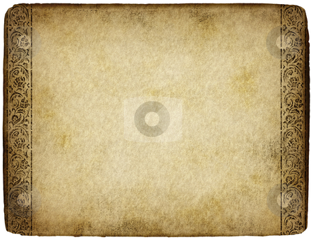 Old parchment stock photo, Old grunge and marked parchment with ornamental design by Phil Morley