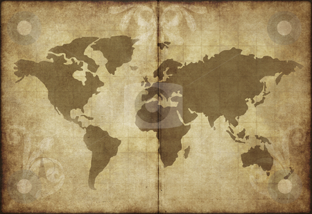 Old world map parchment paper stock photo, Great image of old and worn parchment with world map by Phil Morley