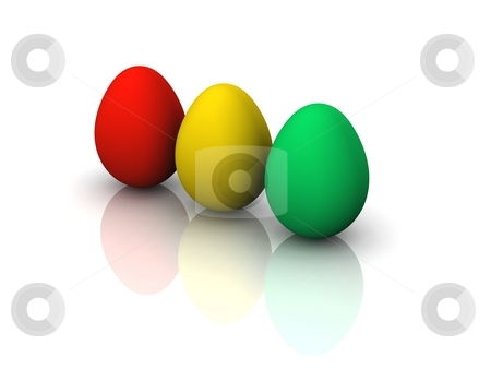 Traffic Light Easter Eggs stock photo, 3d render of easter eggs in red, yellow and green by Oliver Klimek