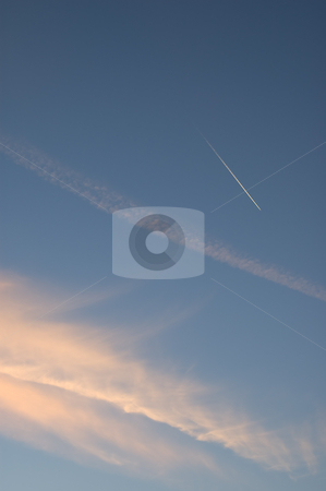 Clouds and contrail stock photo, Clouds and Contrail above England by Susan Robinson