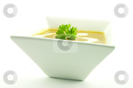 Tomato Soup in a Black Bowl stock photo, Rich red hot tomato soup in a small square bowl with a sprig of parsley and cream on a white background by Keith Wilson
