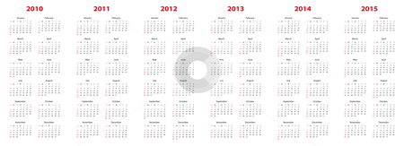 Calendar for 2010 through 2015 stock vector clipart, Simple calendar for years 2010, 2011, 2012, 2013, 2014 and 2015. by Germán Ariel Berra