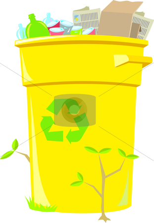 Recycling Bin stock vector clipart, Filled curbside recycling bin with small plants growing around it. by Jamie Slavy