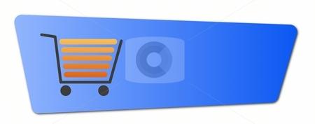 Blue Shopping Cart Button stock photo, Blue shopping cart  button with a shopping cart on white background. by Henrik Lehnerer